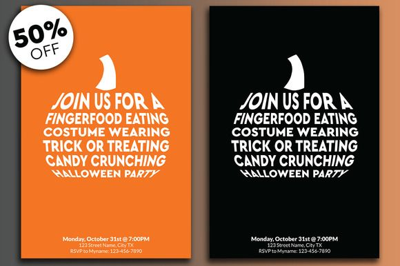 Halloween Invitations by Justin's Designs on @creativemarket