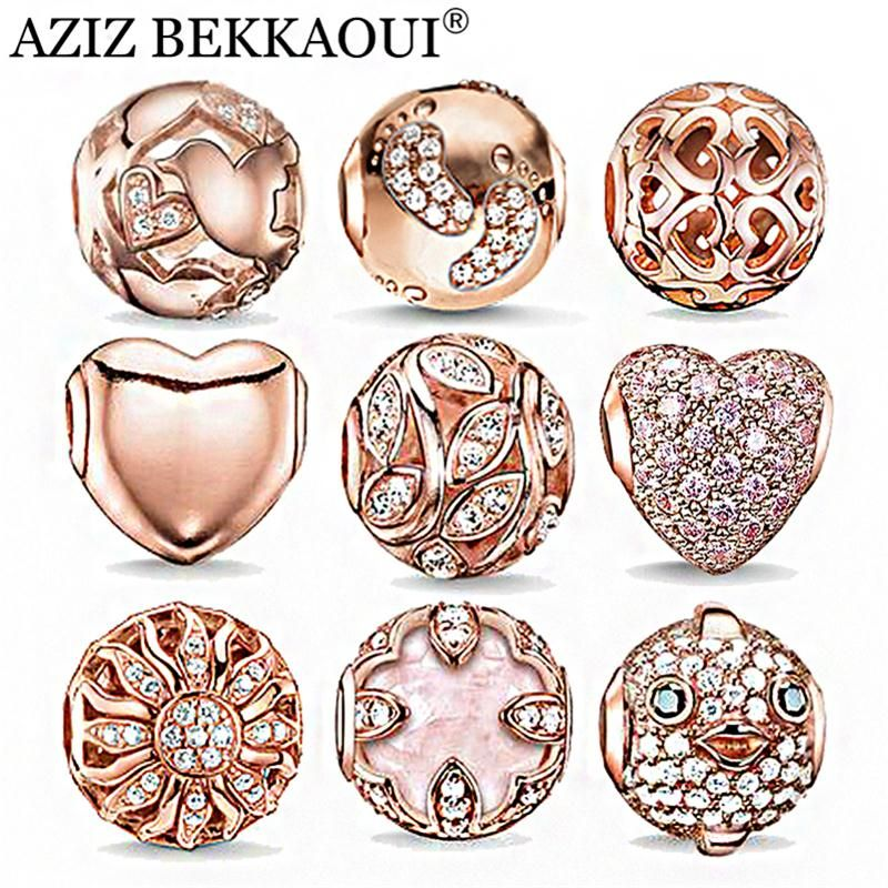 Rose Gold Crystal Beads Fit Pandora Bracelet Necklace Heart Charms