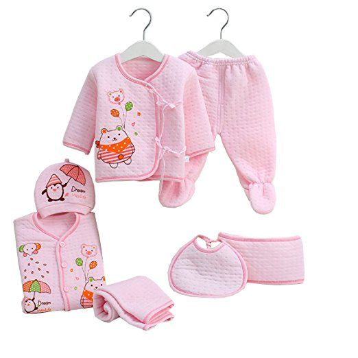6327f8644 Newborn Baby Clothing Sets 7pcs Essential Layette Animal Rompers ...
