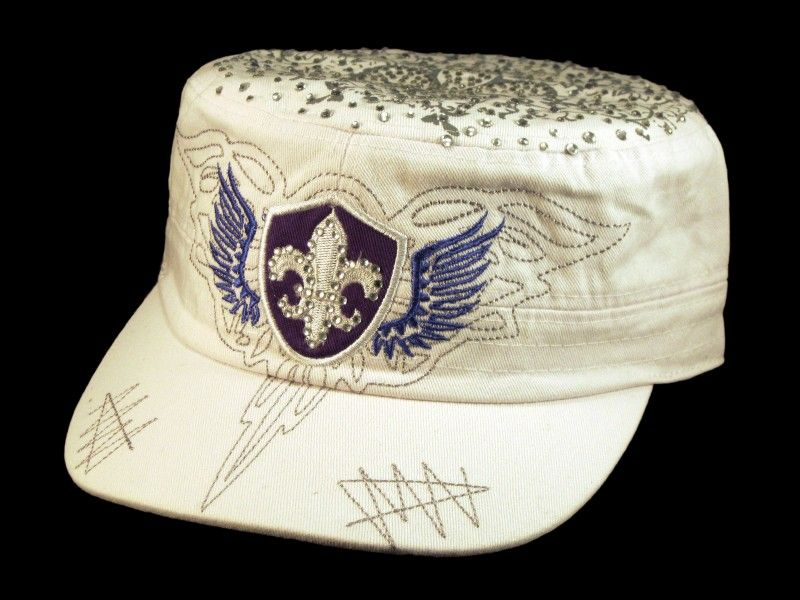 This is a High Quality White Cadet Cap! It s a Vintage Distressed BDU  Military Castro Style Army Hat 807de735ecc