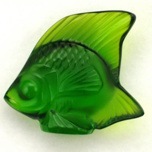 "Lalique ""emerald"" colored fish figure."
