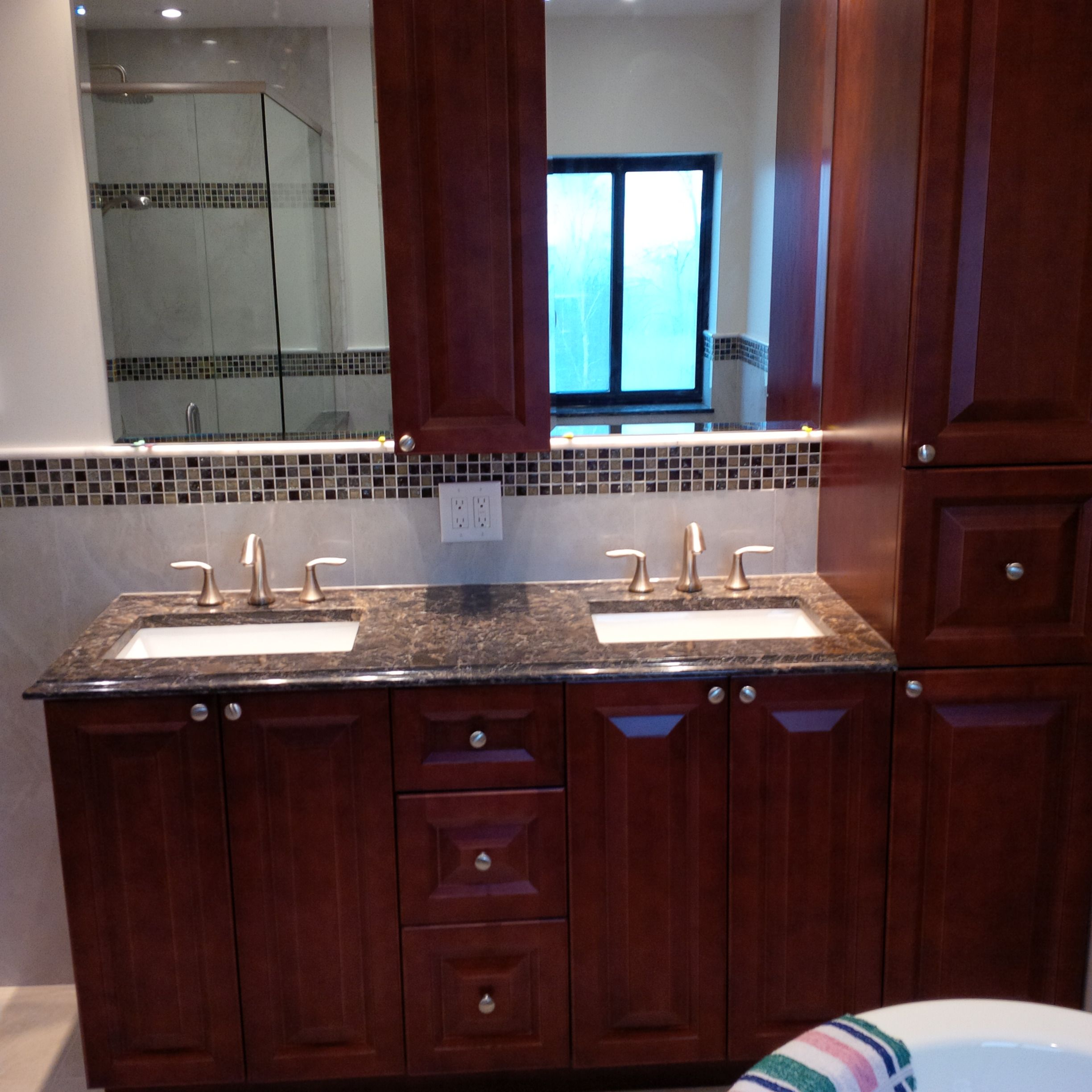 Custom Bathroom Vanities With Linen Tower custom linen tower and vanity with cambria quartz laneshaw top