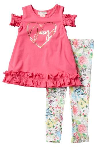 Juicy Couture Cold Shoulder Tunic Leggings Set Toddler Girls Outfits With Leggings Leggings Outfit Fall Toddler Leggings