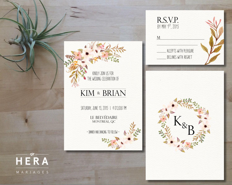 Printable Wedding Invitation Set | Invitation + RSVP Card | DIY ...