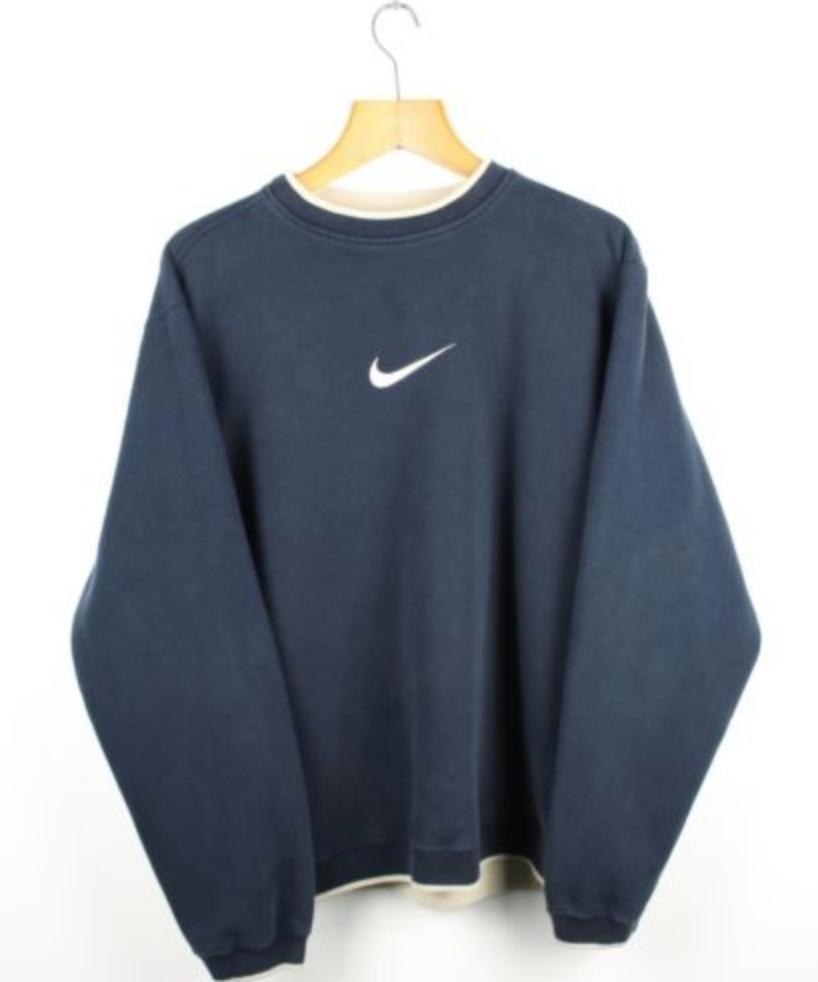 FOR SALE: Vintage NIKE Navy Blue Swoosh Sweatshirt Jumper