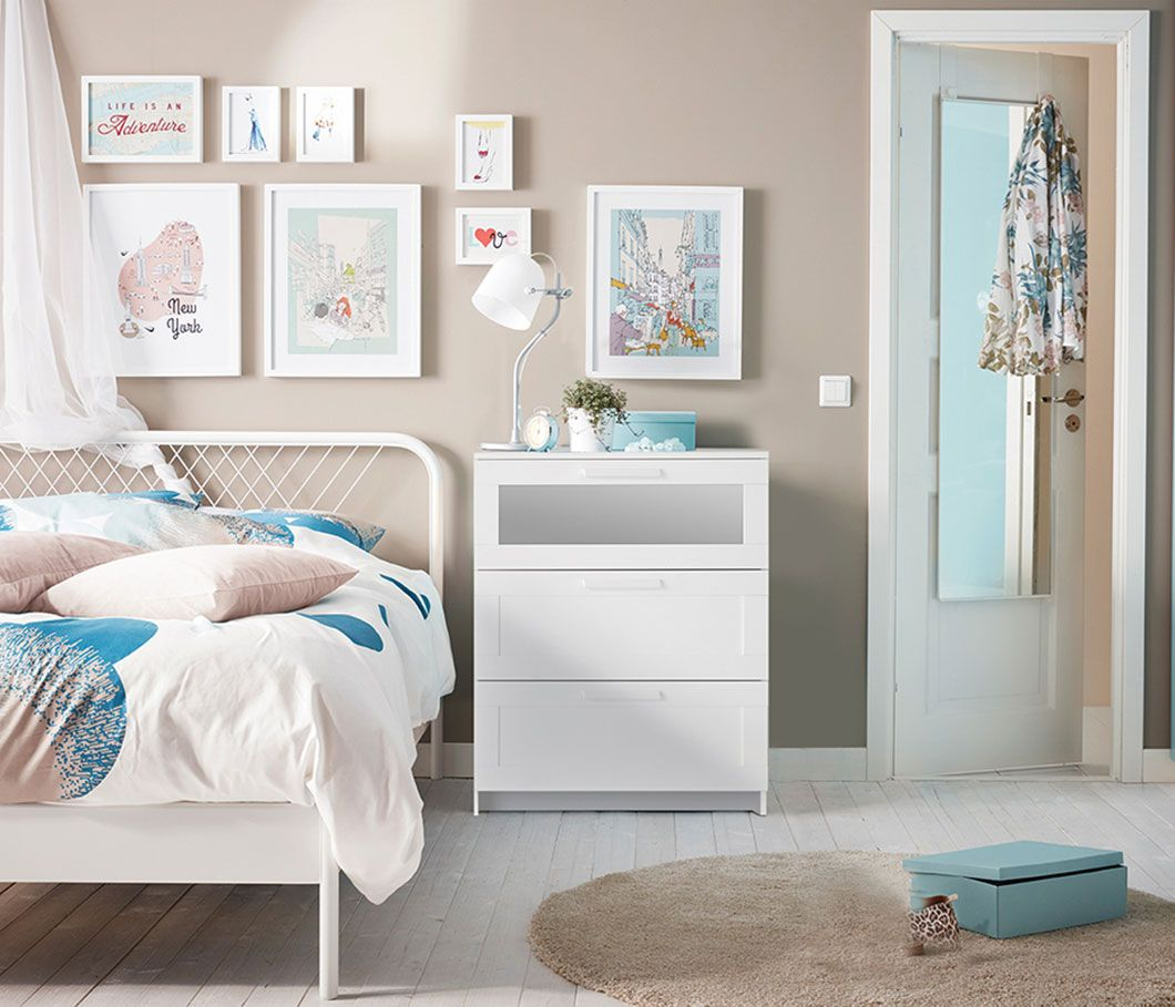 A Bright Bedroom With A NESTTUN Queen Bed Frame And BRIMNES 3-drawer Chest