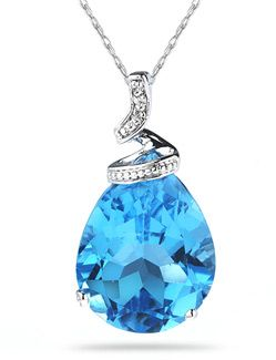 Applesofgold blue topaz pear shaped gemstone and diamond applesofgold blue topaz pear shaped gemstone and diamond pendant white gold aloadofball Images
