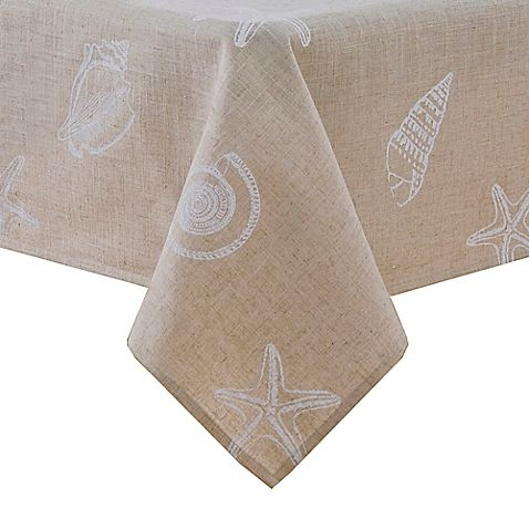 Stamped Shells Tablecloth L Coastal Kitchen L Www Dreambuildersobx
