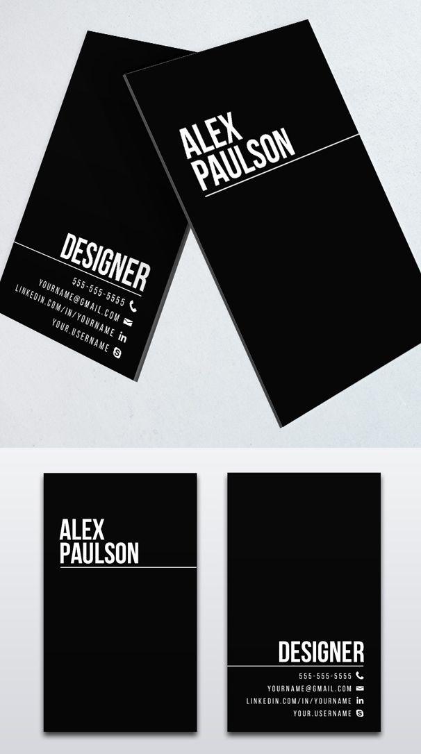 Minimal Black Business Card Design | Design | Pinterest | Black ...