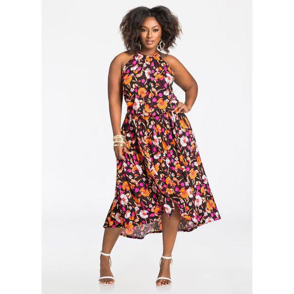 Ashley Stewart Floral Hi-Lo Halter Maxi Dress ($60) ❤ liked on ...