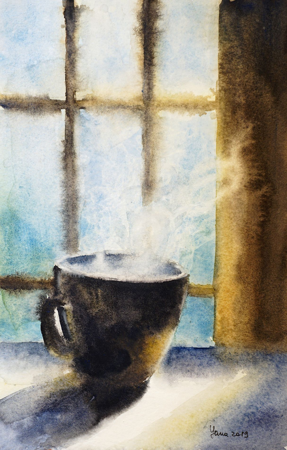 Morning Coffee Cup Original Watercolor Painting Kitchen Wall Art