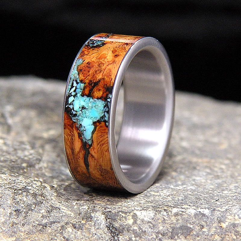 Titanium Wedding Band Or Ring Select Wood Black By
