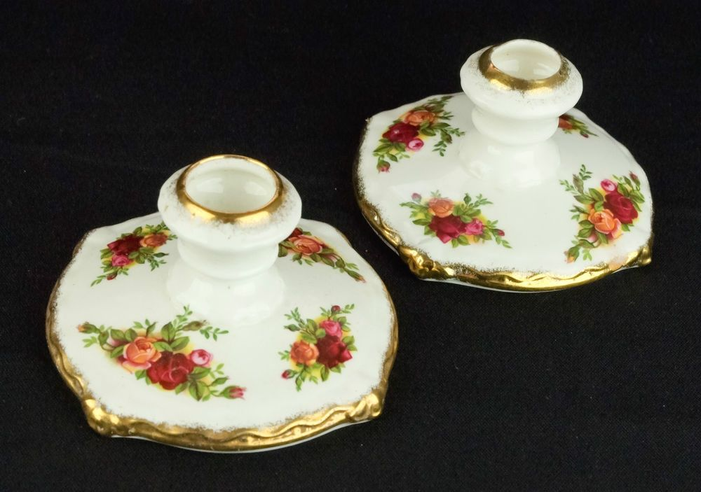 Pair of Royal Albert Old Country Roses Candle Holders 1962-73 1st Quality