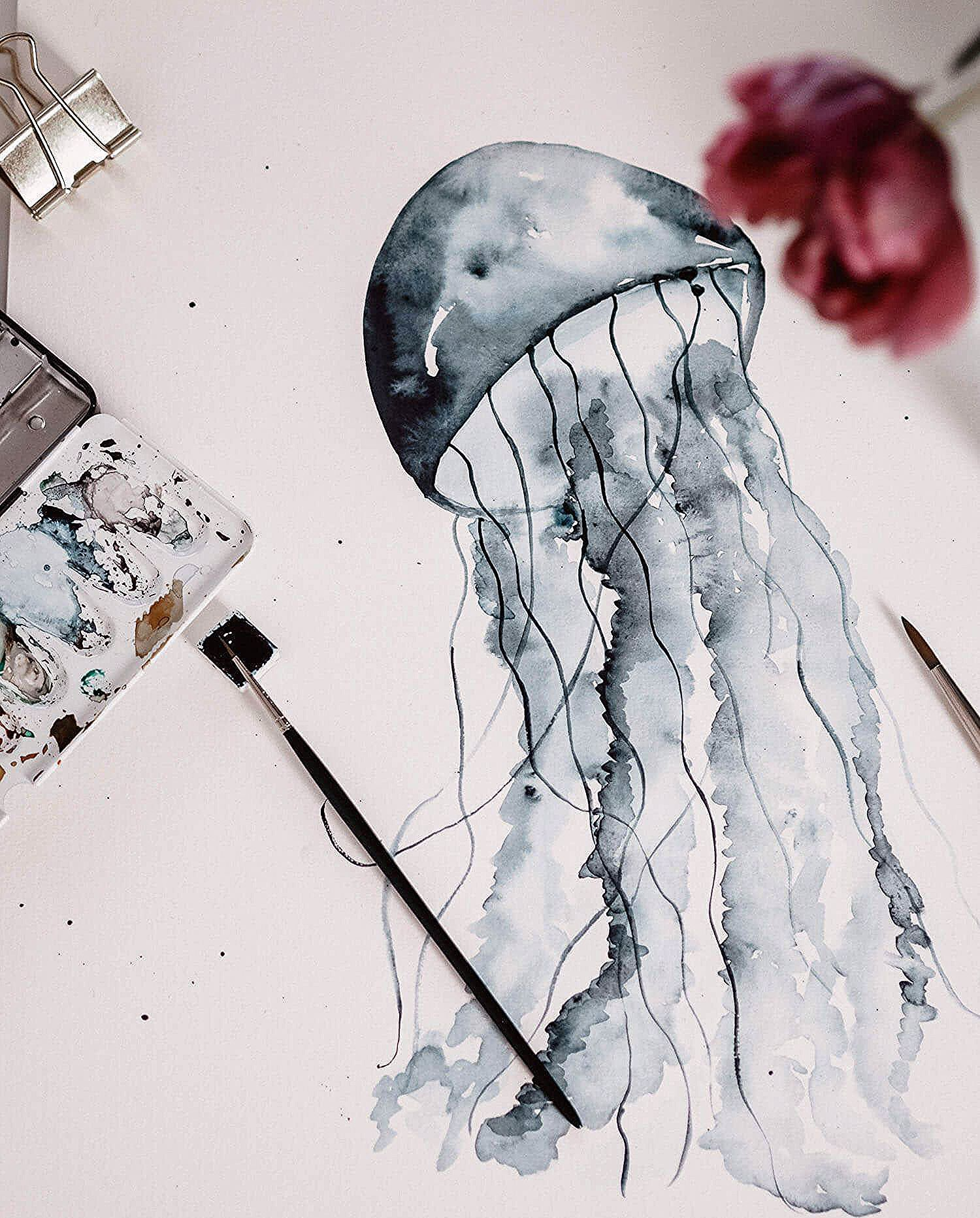 Tutorial Aquarell Qualle Watercolor Jellyfish Step By Step