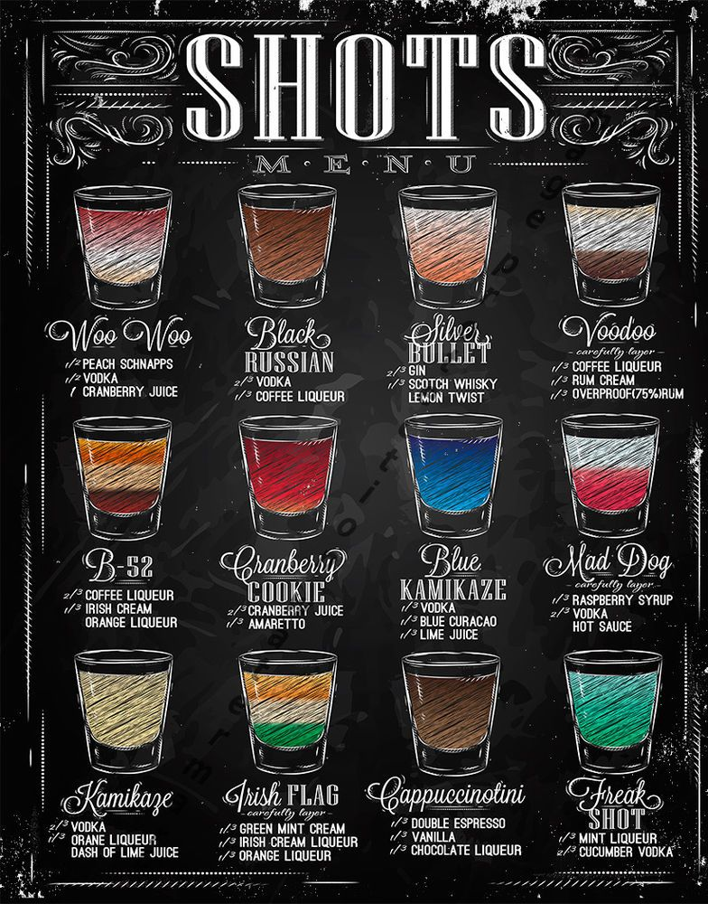 Shots menu large metal tin sign poster retro style wall