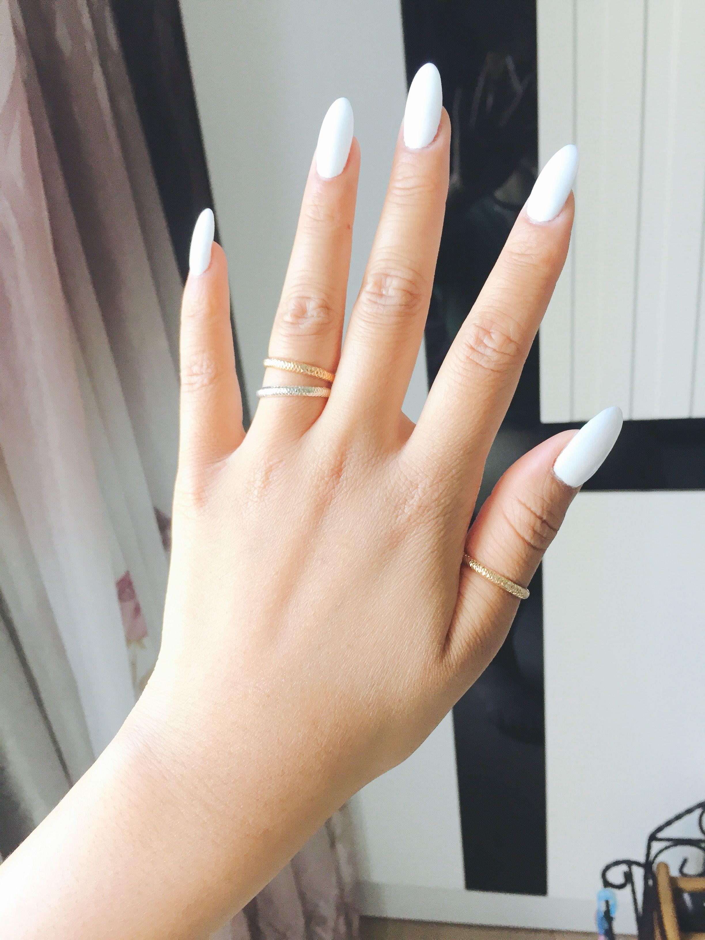 Plain White Almond Gel Nails Almond Gel Nails White Gel Nails Almond Acrylic Nails