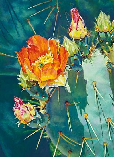 """""""Sunshine Prickly Pear"""" by Lauren Knode Giclee Print ~ 25.5 x 18.5"""