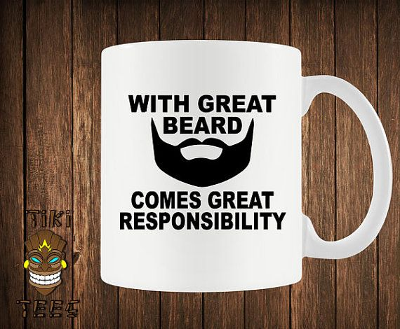 Funny Coffee Mug With Great Beard Comes Responsibility Mugs Geek Nerd Gift For Him Moustache Boyfriend Husband Dad Joke Humor