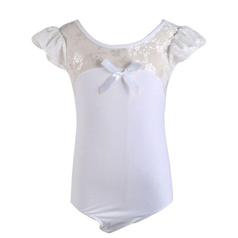 Kids Girls Gymnastic Ballet Leotards Bodysuit Lace Fly Sleeve Dancewear Clothes