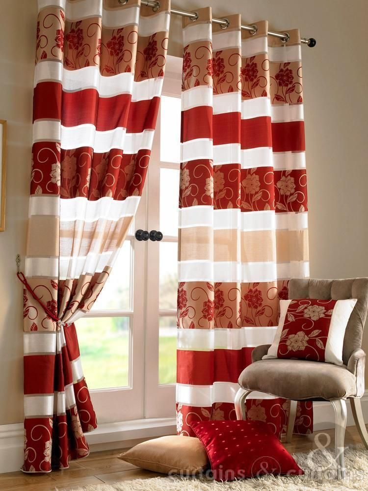 Jasmine Floral Red Gold Eyelet Voile Curtain Red Gold Gold