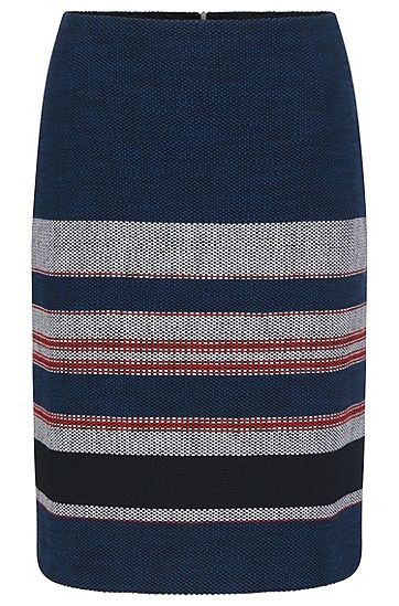 The textured fabric and distinctive striped pattern distinguish the look of this BOSS skirt. The subtle A-line reinforces the feminine silhouette and the stretch cotton blend ensures outstanding comfort. The ideal women's skirt for modern business outfits.
