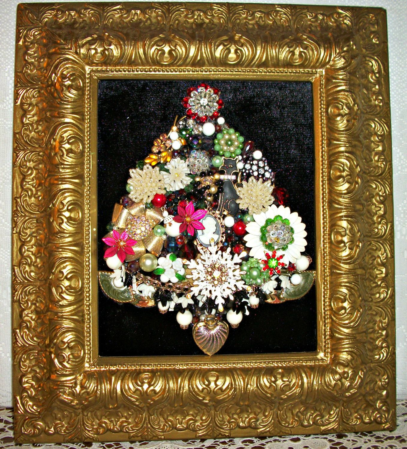 Vintage Jewelry Framed Christmas Tree By Moondiamonds On Etsy