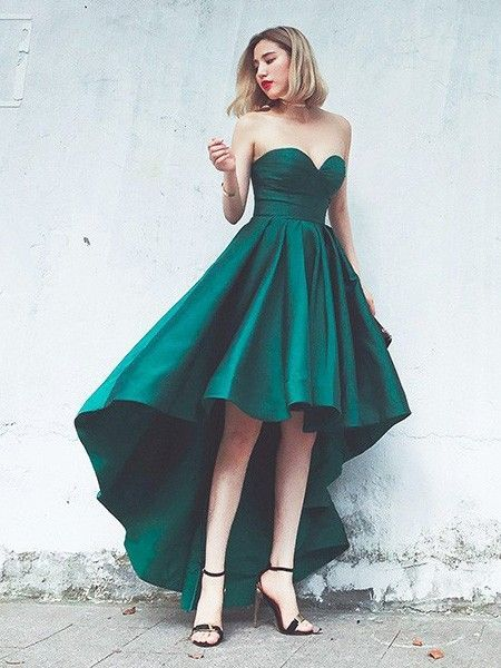 Sexy High Low Prom Dress,Green Evening Dress,Hi-low Party | Dresses ...