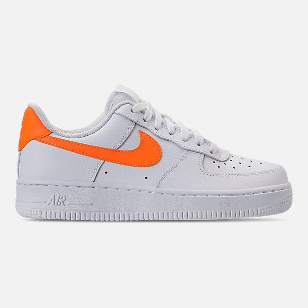 outlet store 6c2f0 551fd Right view of Womens Nike Air Force 1 07 Casual Shoes in WhiteTotal  Orange