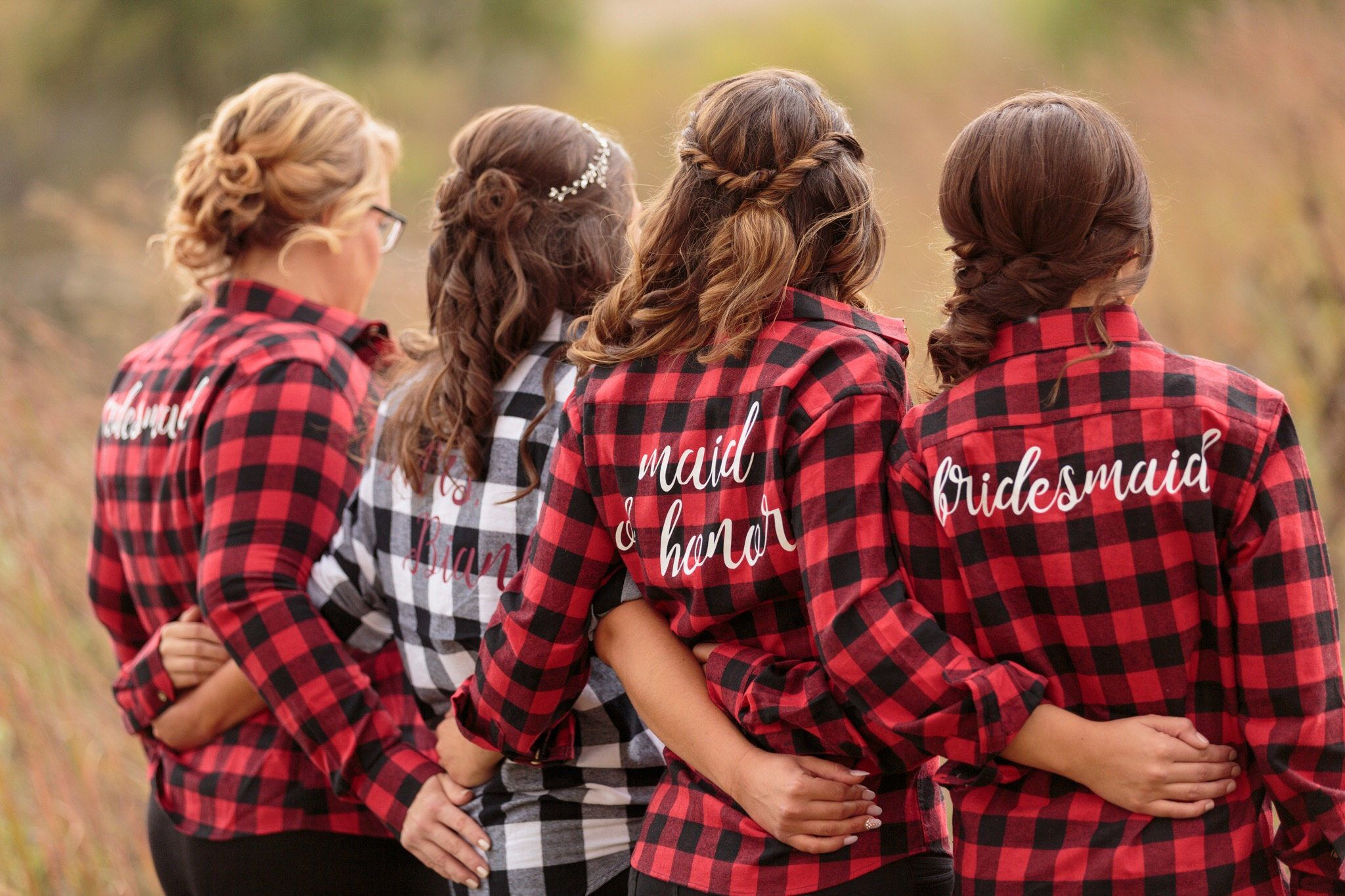 Flannel shirt party  Bridal Party Flannels Bridesmaid Maid of Honor Bride Red Black
