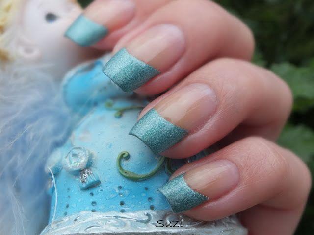 Blue Glitter Tips Manicure by Beauty by Suzi