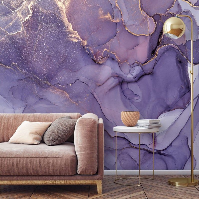 Purple Gold Wallpaper Mural Abstract Self Adhesive Removable Etsy Large Wall Murals Purple And Gold Wallpaper Wallpaper Accent Wall