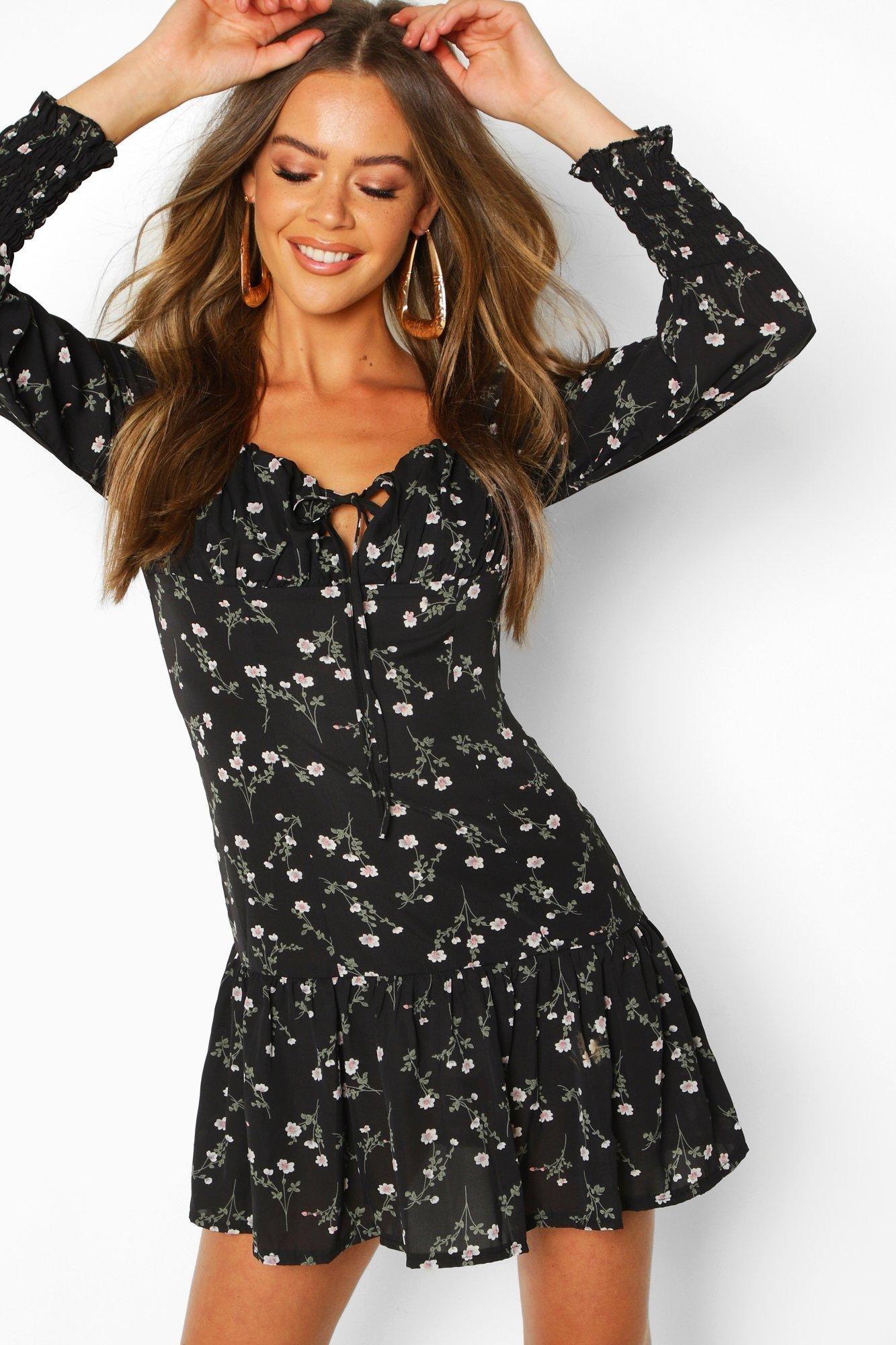 17++ Black floral dress info