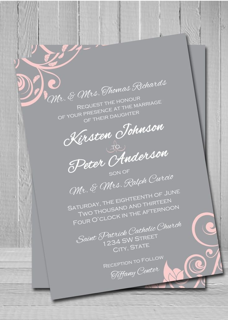 Grey and pink wedding invitation i would switch it to