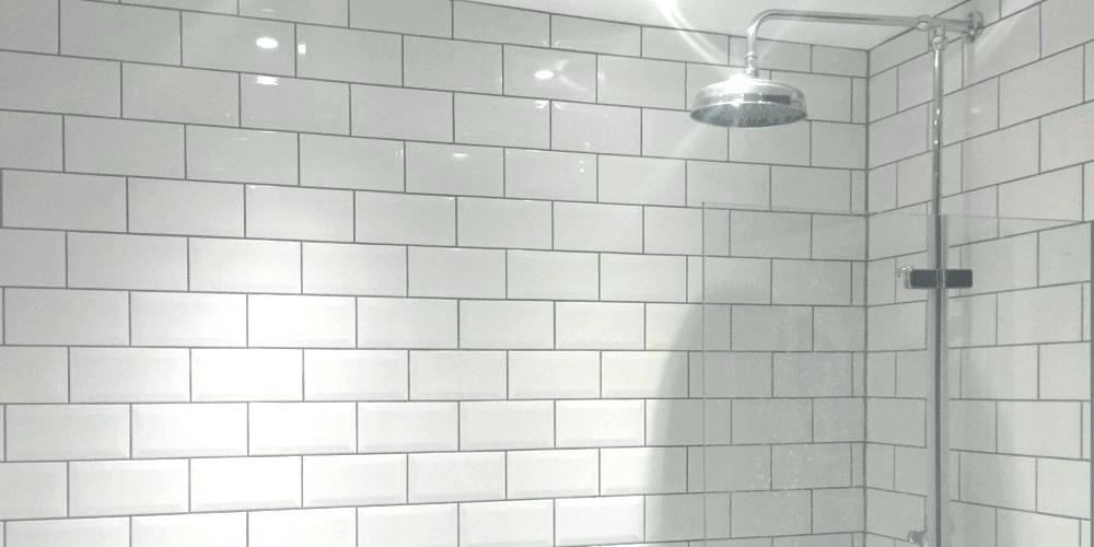 White Metro Tiles With Grey Grout White Bathroom Tiles White Subway Tile Tile Bathroom