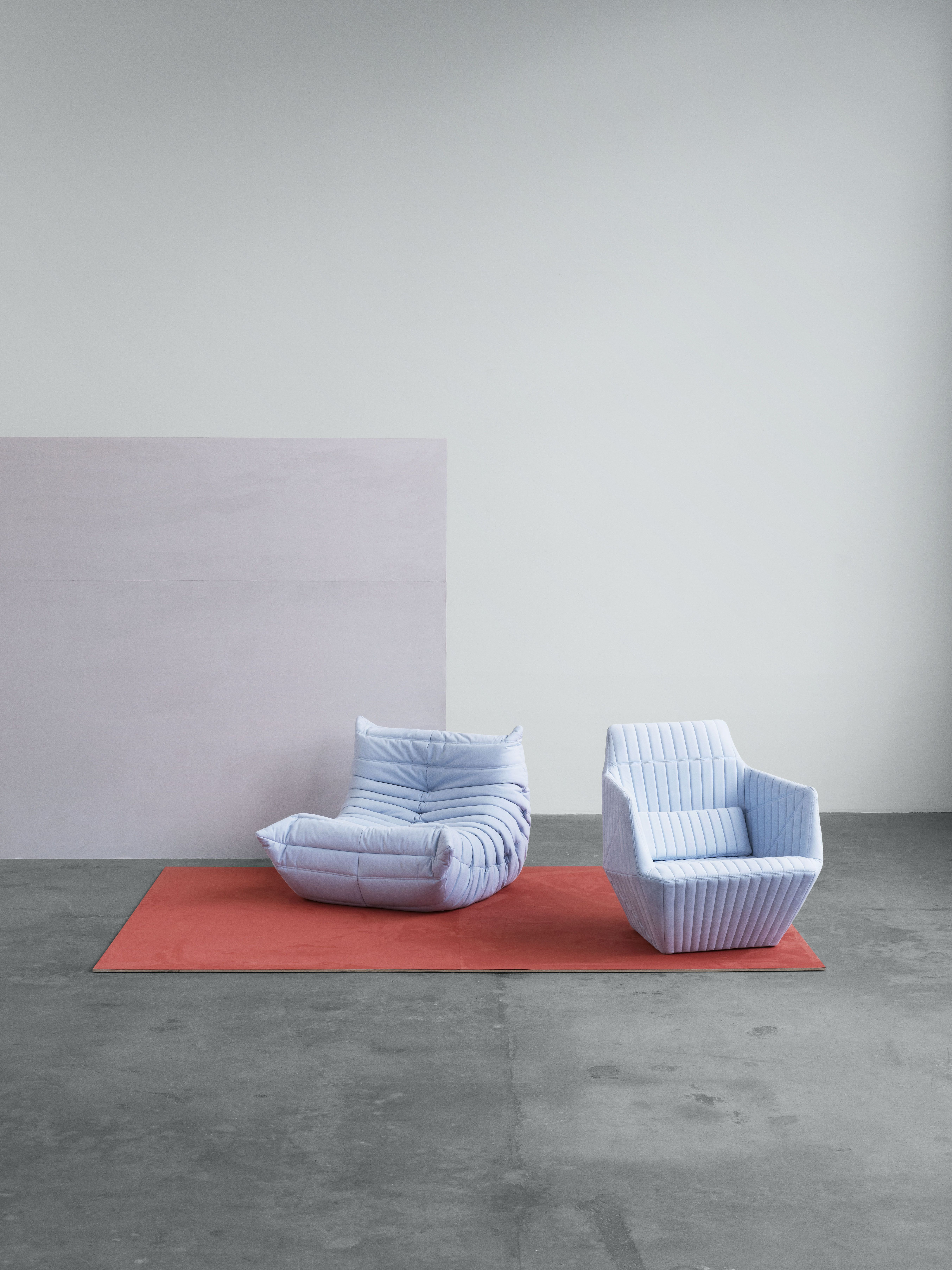 Ligne Roset Armchair, Facett And Togo In Upholstery Textile Waterborn.  Waterborn Is A Groundbreaking