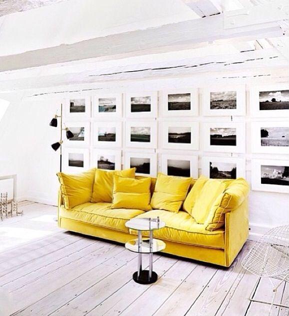 Art wall + Yellow Sofa | | Inspiration | Art Walls | Pinterest ...