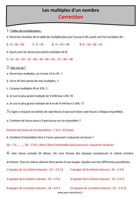 Multiples cm1 exercices imprimer pass education for Les multiples de 6