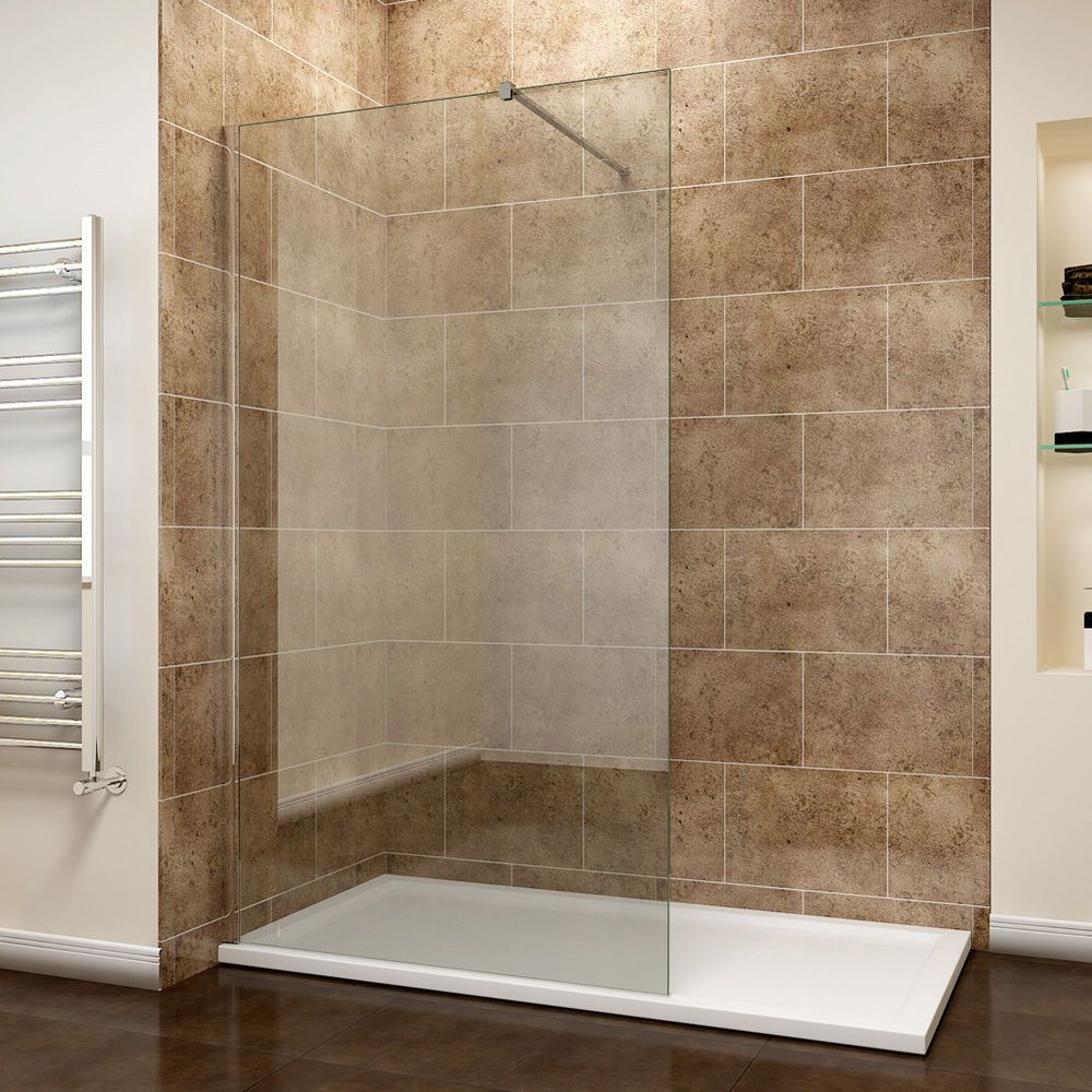 Walk in Wet Room Shower Screen Panel 8mm EasyClean Glass Shower ...