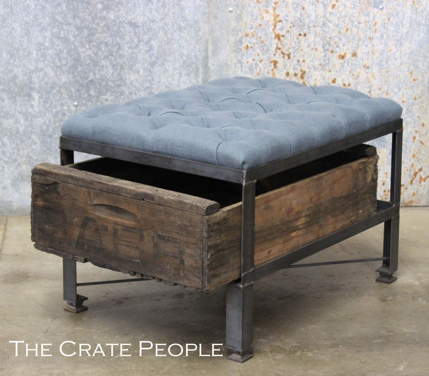 French Blue Tufted Ottoman In Belgian Linen Custom Crate  # Muebles Otomanos