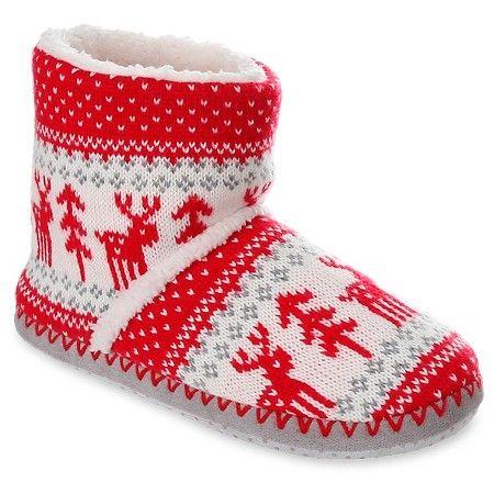 Women's Capelli® Reindeer Fair Isle Knit Bootie Slippers : Target