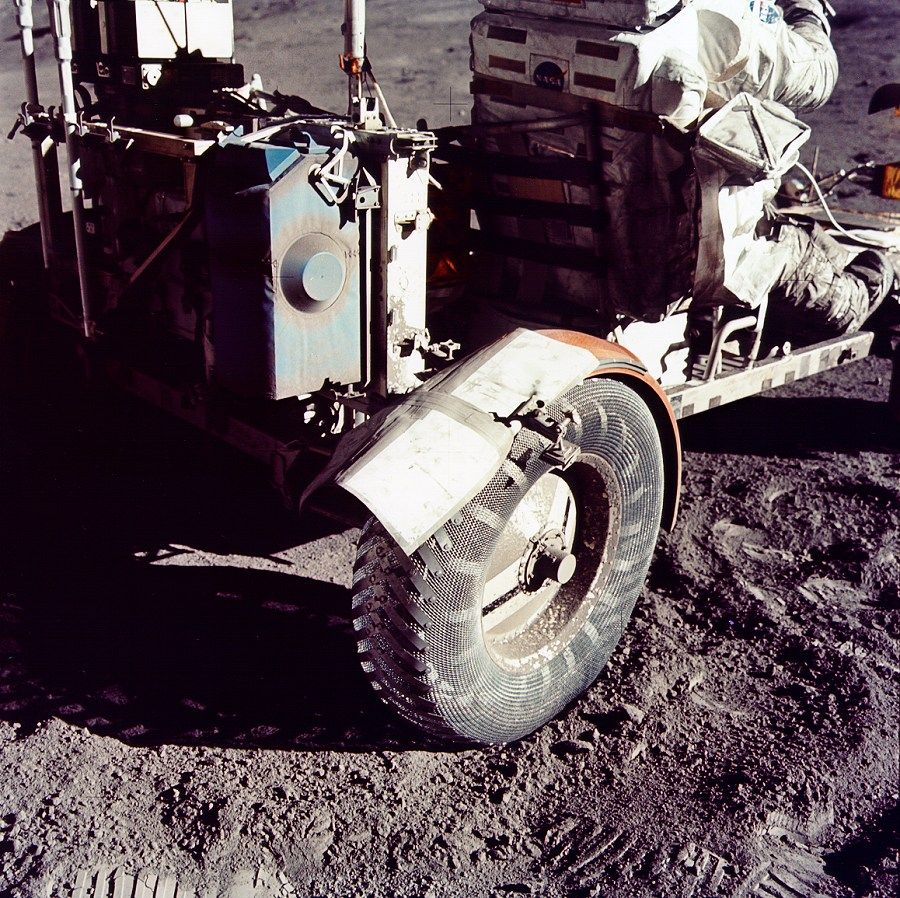 Apollo 17 moonbuggy fender repaired with duct tape. full story at: http://science.nasa.gov/science-news/science-at-nasa/2008/21apr_ducttape/