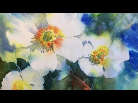 Negative Painting with Watercolor White Blossoms