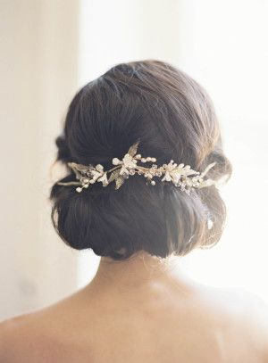 Glam pearl adorned bridal hairstyle: http://www.stylemepretty.com/2015/11/10/elegant-alder-manor-wedding/ | Photography: Judy Pak - http://judypak.com/