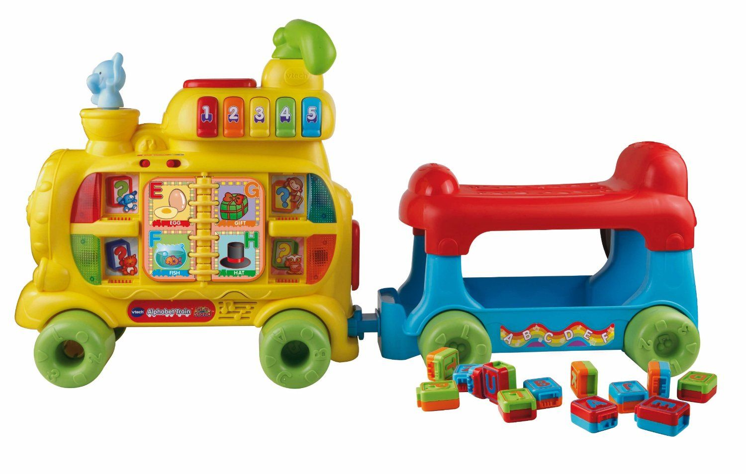 My two youngest would have just DIED over this toy when they were learning to walk. Trains are where it's at people! ThisVTech Sit-to-Stand Alphabet Trainhas so many great things going for it. It has three modes of play: Floor Play Mode, Walker Mode and Ride-On Mode, itteaches your toddler letters, numbers, colors, songs, stories and more, and it hasmotion sensors that activate sound when moving. This toy comes recommended for children ages 1 to 3, but I bet even 8 or 9 month olds would…
