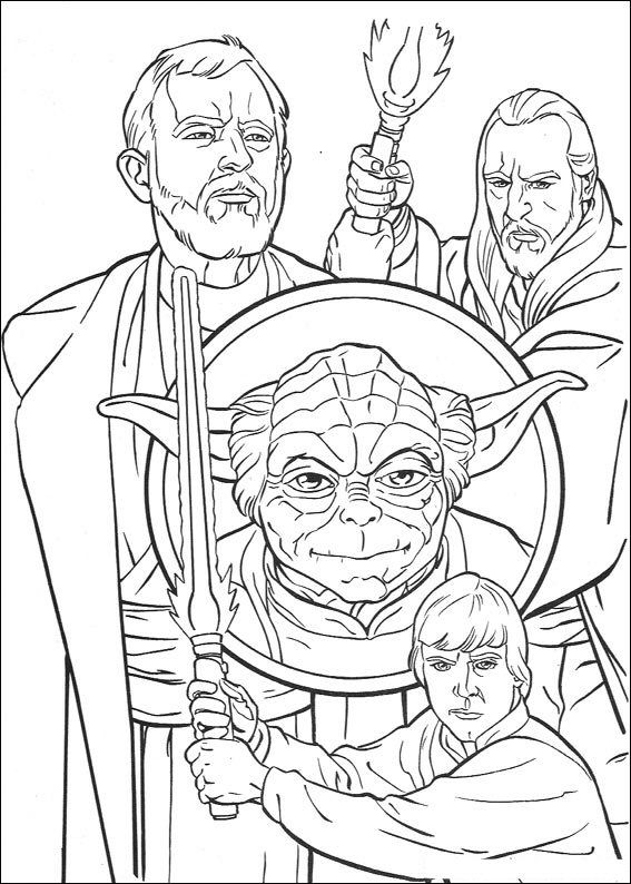 Kleurplaten Star Wars Yoda.Kleurplaat Star Wars Star Wars Dibujos Adult Coloring