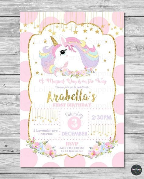 Details About 8x Unicorn Invitation 1st First Birthday Card Pink
