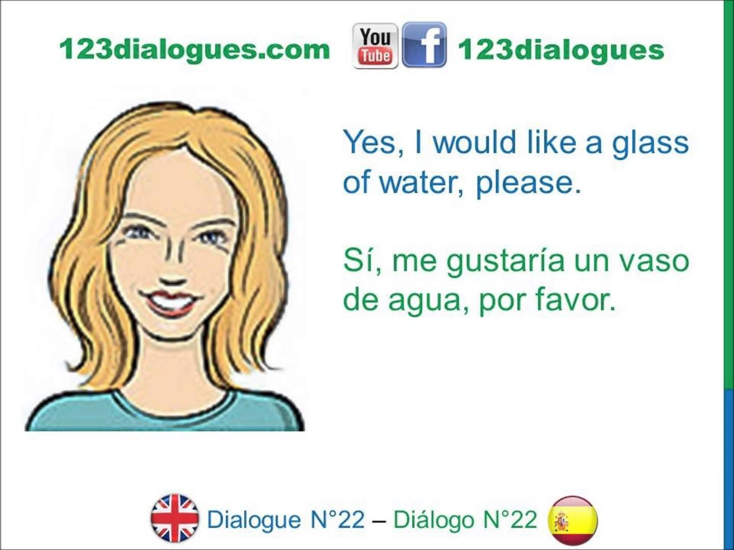 Dialogue 22 - Inglés Spanish - Drinks I'm thirsty - Bebidas Tengo sed #i'mthirsty Dialogue 22 - Inglés Spanish - Drinks I'm thirsty - Bebidas Tengo sed #imthirsty