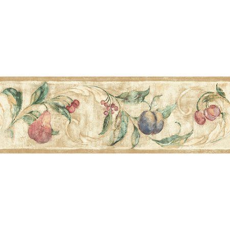 Blue Mountain Fruit Symphony Wallpaper Border, Beige with
