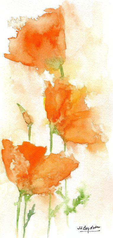 Watercolor California Orange Poppies, Original Painting ...