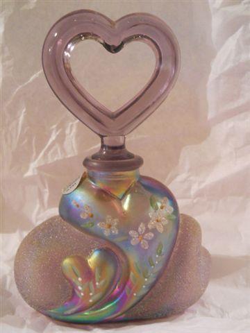 Fenton Glass Ed 1787 Violet Carnival Frit Heart Shaped Perfume Bottle NR   eBay